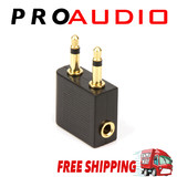 Airplane Airline Headphone Gold Plated Adapter For Audio Jack 2 Plug Air Plane Connector