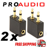 2x Airplane Airline Headphone Gold Plated Adapter For Audio Jack 2 Plug Air Plane Connector