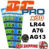 30 x LR44/A76/AG13 1.5V Batteries Alkaline Button Cell Battery Local Stock Fast