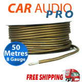 8GA 8 GAUGE AWG BROWN POWER WIRE CABLE CAR AUDIO FOR AMPLIFIER AMP (50 METRES)